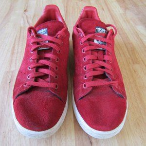 Adidas Red Suede Stan Smiths Sneakers